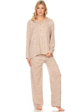 Z2150 Womens Sleepwear Pajamas Woman Long Sleeve Button Down set Black XXL