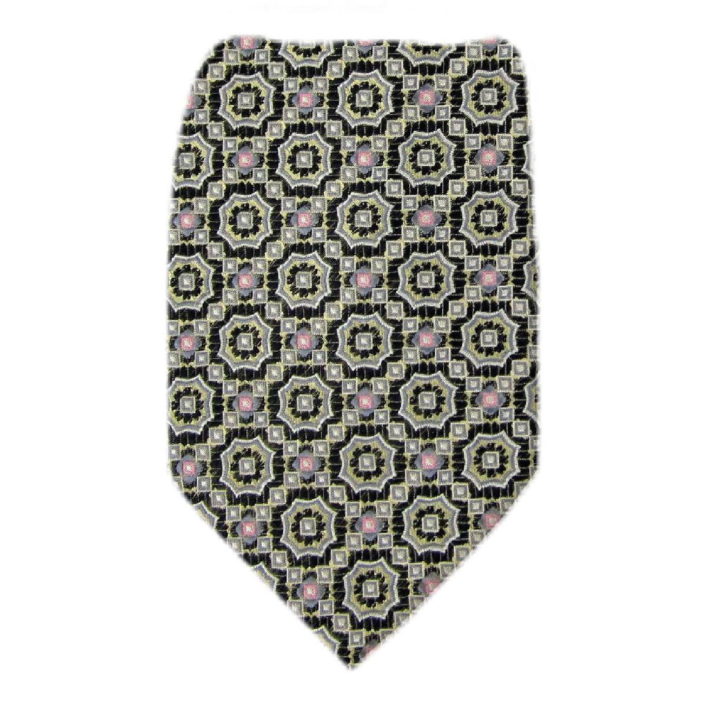 Bocara - Silk Mens Necktie - Taupe  Black Pink