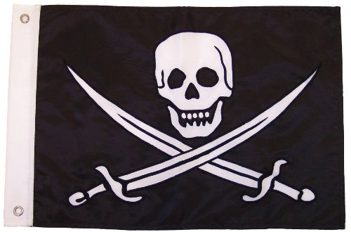 In the Breeze Calico Jack Applique Grommeted Boat Flag, 12 by 18-Inch by In The Breeze