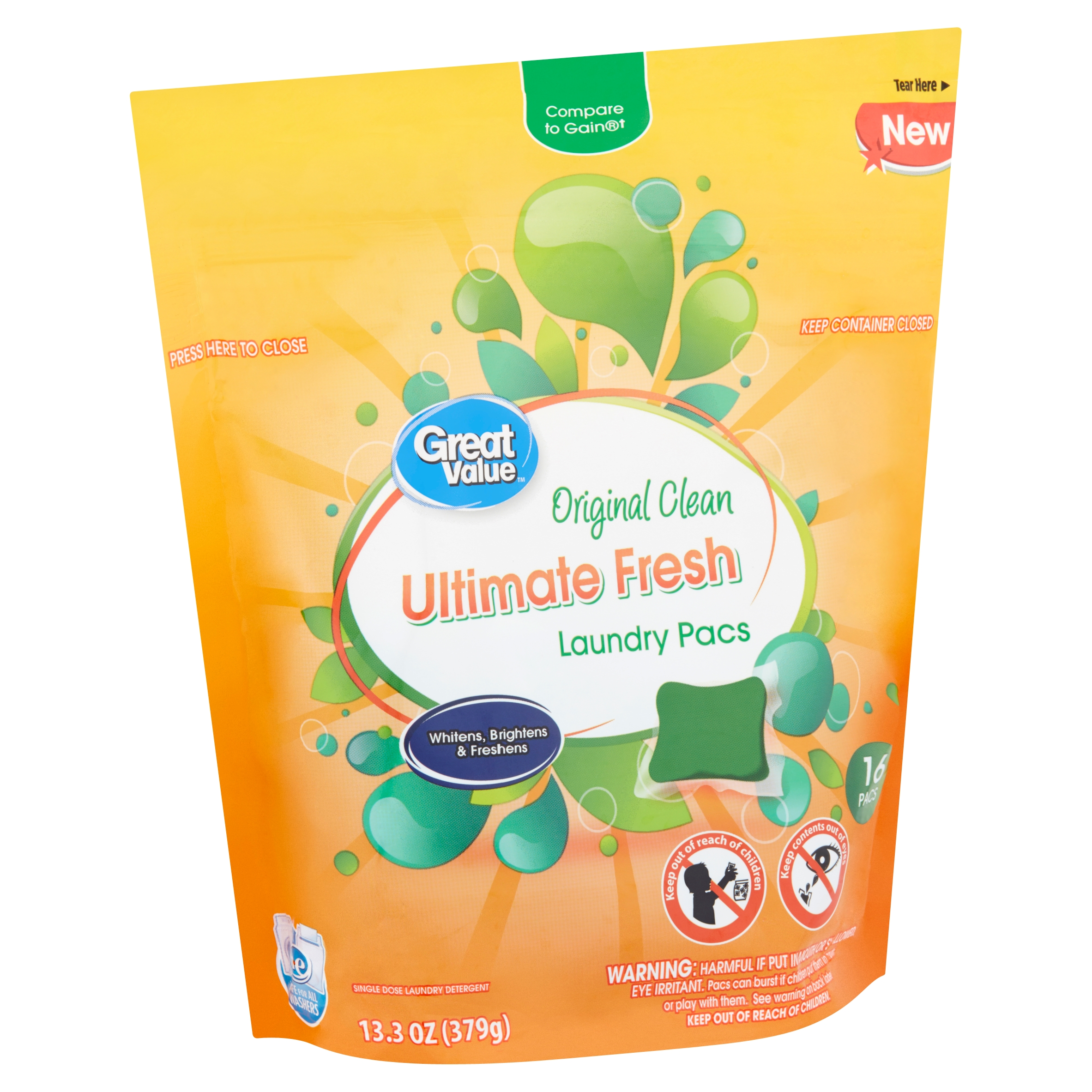 Great Value Ultimate Fresh Original Clean Laundry Pacs, 16 count, 13.3 oz