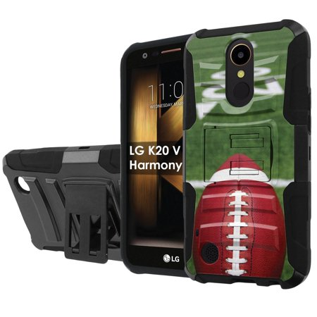 LG K20 / M257 HARMONY / VS501 (K20V) / V5 / TP2608 (K20 PLUS) [NakedShield] Black Defender Combat Armor Case [KickStand] [Holster] - [Football Field] ()