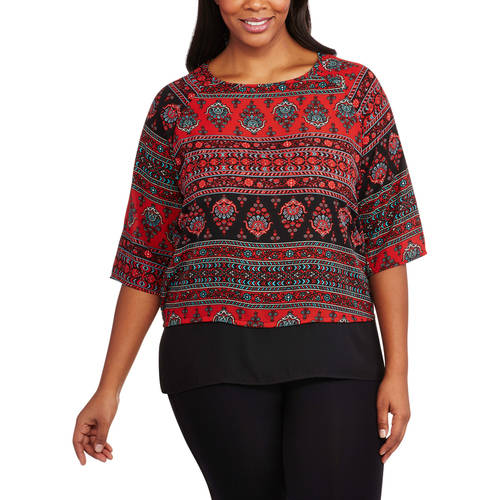 Glamour and Co. Women's Plus-Size 3/4 Sleeve Floral Printed Hi-Lo Woven Top