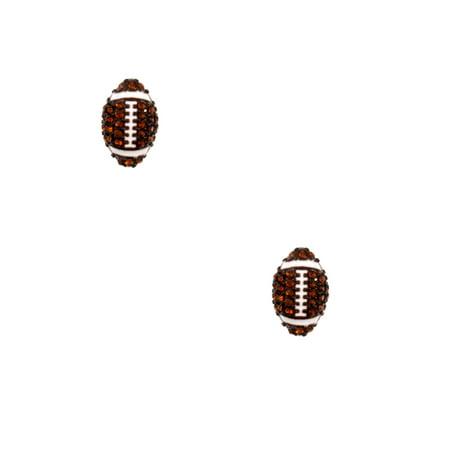 Football Brown Rhinestone Pave Stud Post Earrings