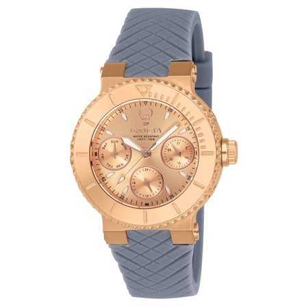Invicta Womens Gabrielle Union Grey Silicone Band Steel Case Quartz Rose Gold Tone Dial Watch 22955
