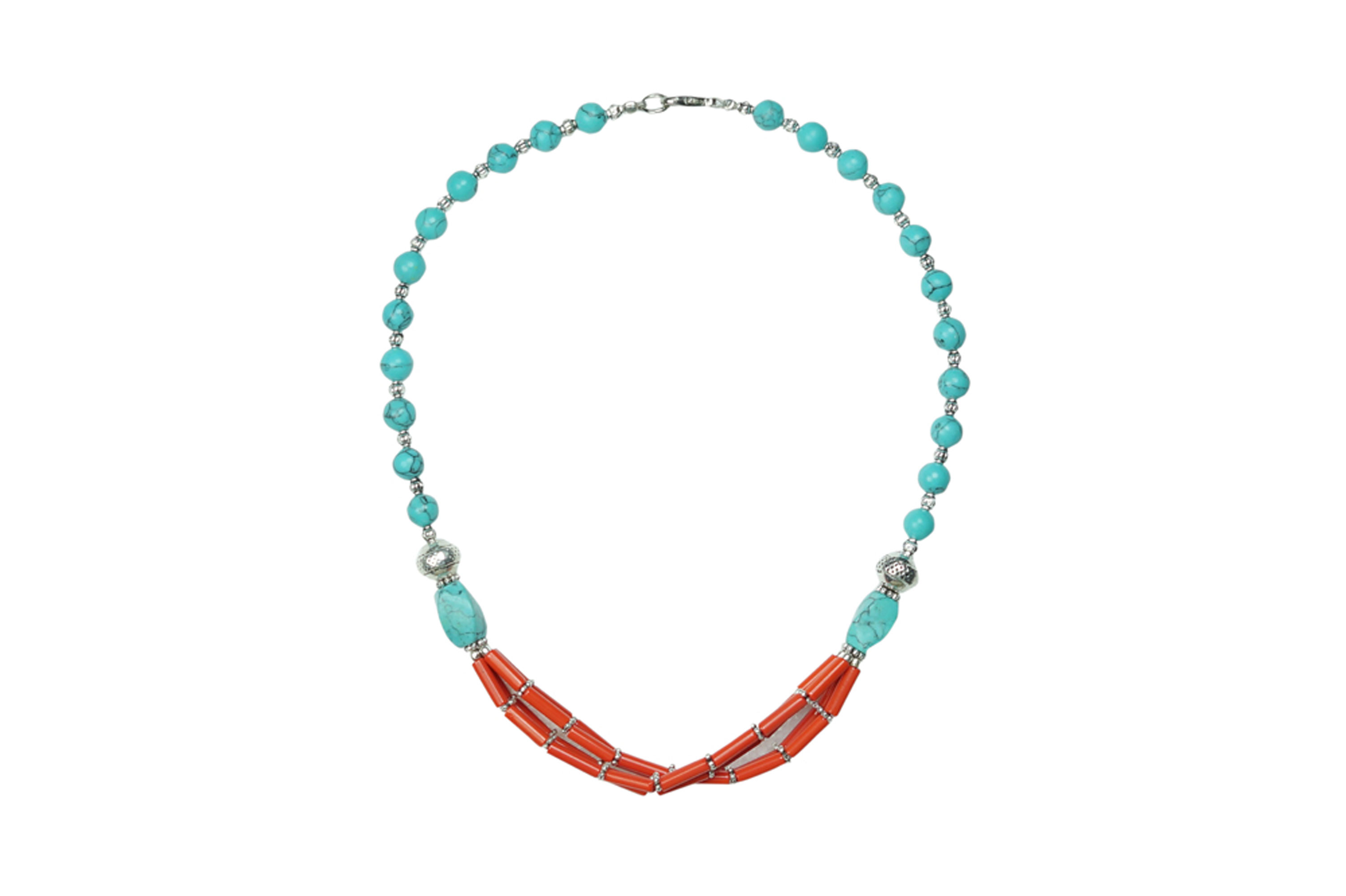 Mogul Bohemian Jewelry turquoise coral Beads Pendent Necklace Artisan Crafted Beads Stones by
