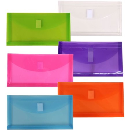 JAM Paper #10 Plastic Expansion Envelope with Hook & Loop Closure, 5 1/4 x 1 x 10, Assorted Colors, 6/Pack