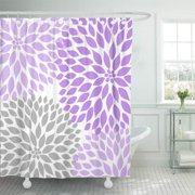 SUTTOM Gray Lavender Purple Grey Dahlia Flowers Blooms Blossoms Shower Curtain 66x72 inch