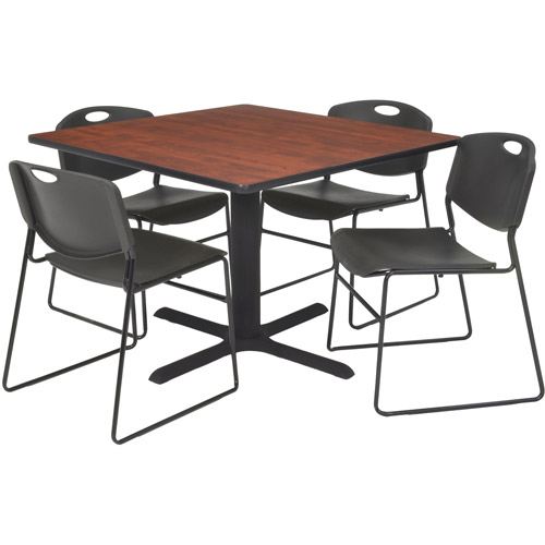 "Regency 5-Piece 36"" Square Lunchroom Table with Metal ""X"" Base and 4 Zeng Chairs"