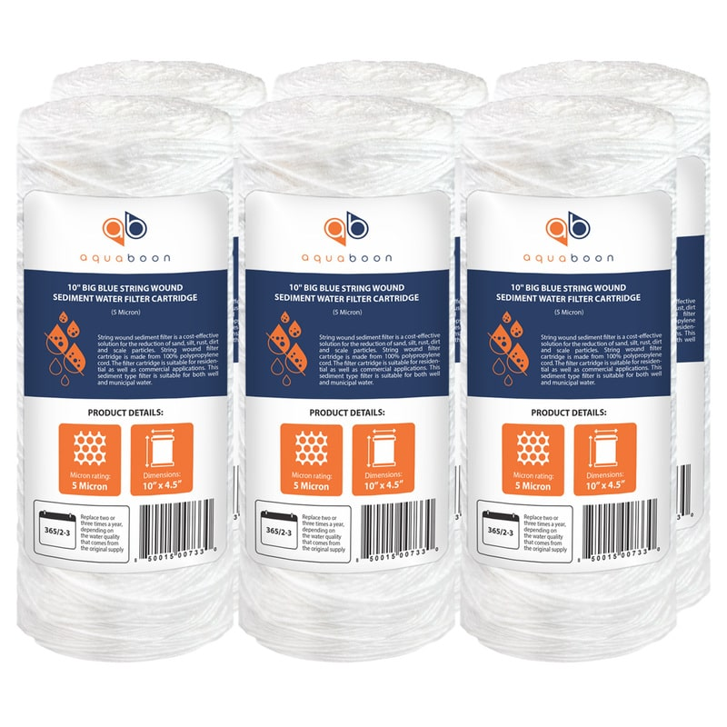 "6PK of 10"" Big Blue Whole House String Wound Sediment Water Filter Cartridge 5 Micron by Aquaboon"