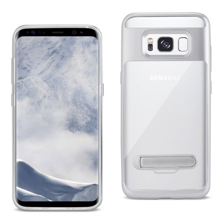 Reiko REIKO SAMSUNG GALAXY S8 EDGE/ S8 PLUS TRANSPARENT BUMPER CASE WITH KICKSTAND AND MATTE INNER FINISH IN CLEAR SILVER (Matte Transparent Case)