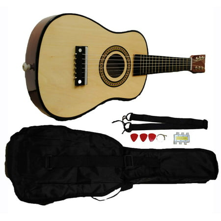Mini Kids Acoustic Toy Guitar Kit Gig Bag + Picks + Strap + Tuner - Natural Wood (Kids Toy Guitar)