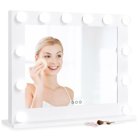 Best Choice Products Hollywood Styled LED Vanity Mirror, Tabletop or Wall Mountable with 12 Lights, Removable Stand, 3 Color Temperatures, Smart Touch