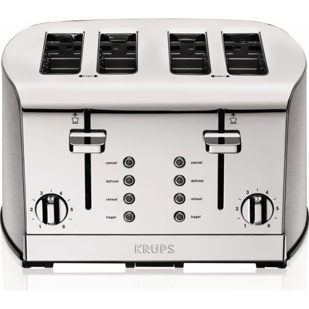 Krups  4 Slice Toaster  Brushed And Chrome Stainless Steel  Silver Kh734d50
