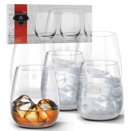 12oz Whiskey Tumbler Glasses Set of 6 – Premium Clear Glass Scotch, Shots, Cocktails, and All Purpose Drinking Cups – Elegant Stemless Design – Dishwasher Safe – by Kitchen (Gold Scotch Whiskey)