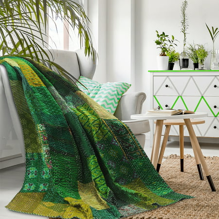 LR Home Patchwork Peacock Green Kantha Throw Blanket ( 50 in x 70 in. )