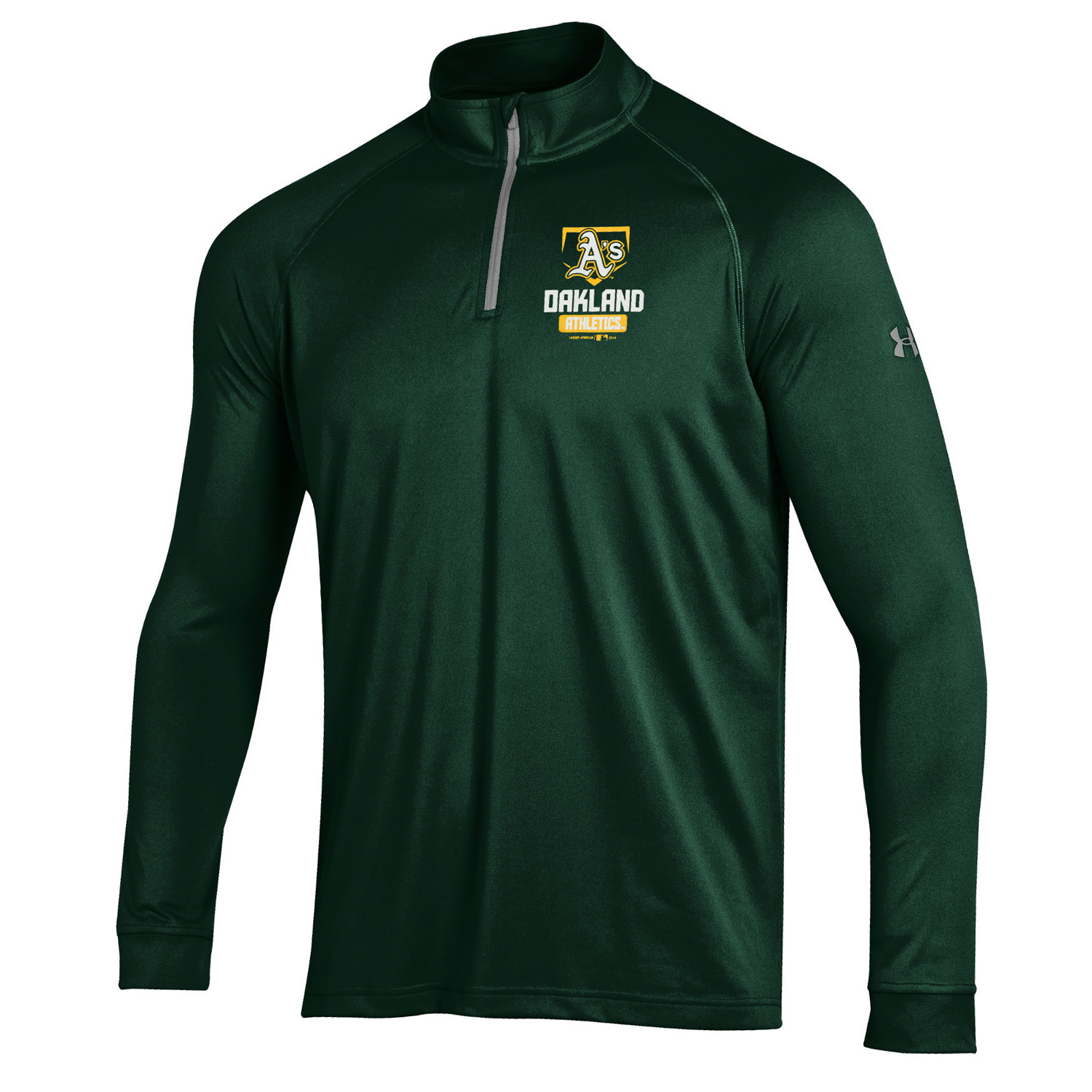 Oakland Athletics Under Armour Quarter-Zip Tech Pullover Performance Sweatshirt - Green