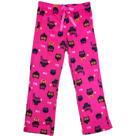 Girls Holiday Pajamas (Womens Hot Pink Owl Fleece Sleep Pants Halloween Bird & Pumpkin Pajama)