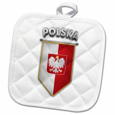 3dRose Pennant with flag of Poland Polish Banner Coat of Arms - Pot Holder, 8 by (Polish Coat Of Arms)