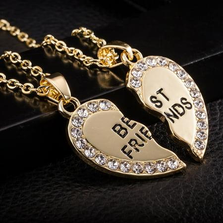 Best Friend Printed Unisex Heart Pendant Necklace Jewelry