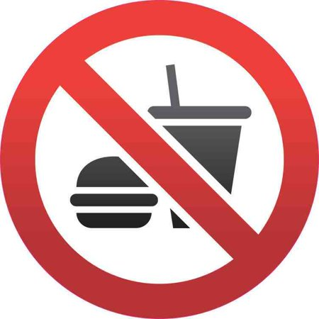 5in x 5in No Food Or Drink Sticker Vinyl Road Sign Door Decal Wall Stickers 5in x 5in(127mm x 127mm) No Food Or Drink StickerNo Food Or Drink Sticker Design:This circular stickeris 5inches wide by 5inches tall when applied.It bears the image of a hamburger and cup with a red circle and slash through the image. This product is durable and easily visible making it ideal for use in nearly any situation!