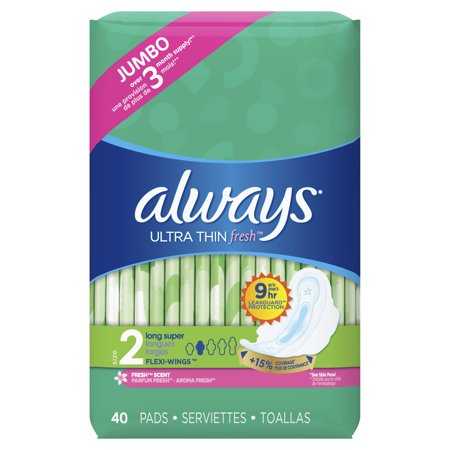 ALWAYS Ultra Thin Size 2 Super Pads With Wings Scented, 40