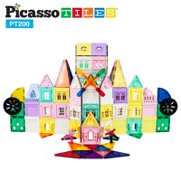 PicassoTiles 200 Piece Castle Click-In Set with 2 Figures, Car, and Windmill PT200