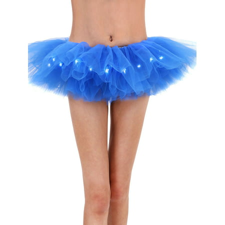 Women's LED Light Up Neon Tulle Tutu Fancy Party Costume Skirts (Costumes With Black Skirt)