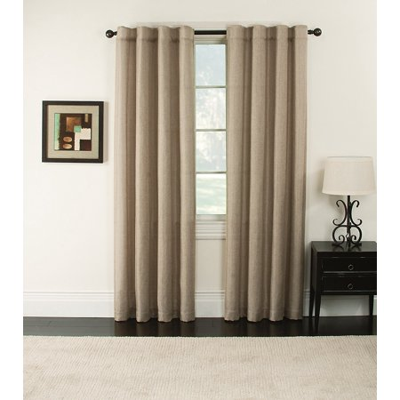 Furniture Fresh-Blackout Thermal Faux Linen Pair of Panels--Two Panels-Rod Pocket and Back Tabs (each 50x84, Beige)