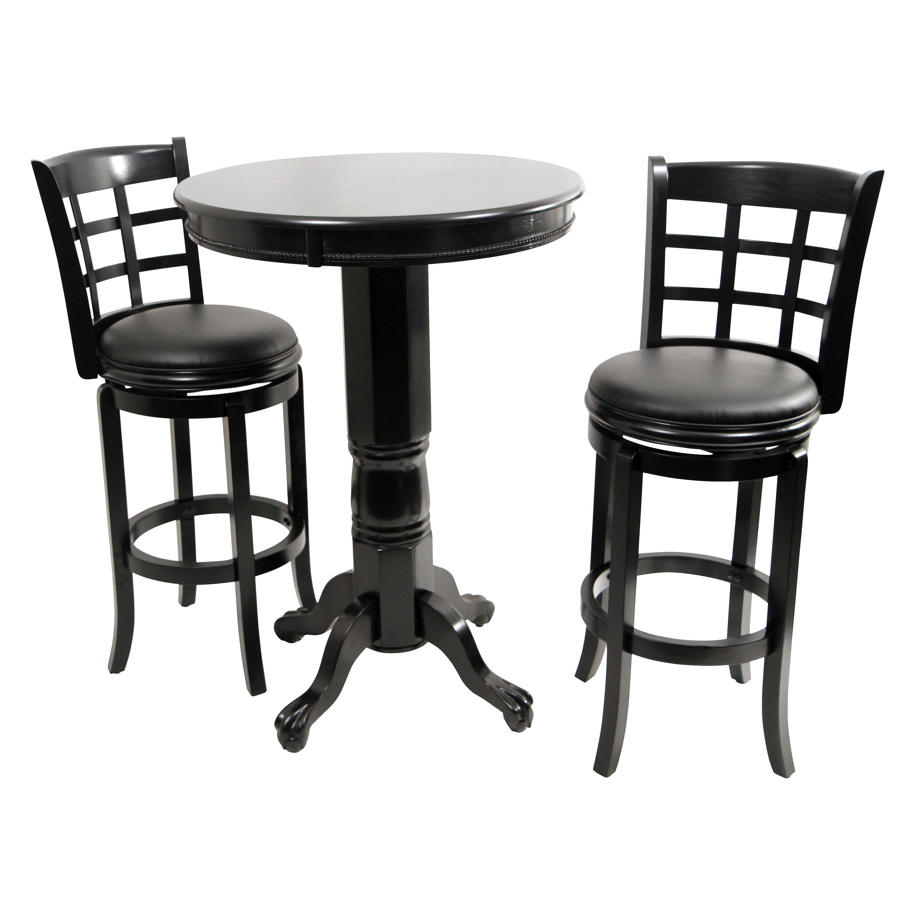 Boraam Kyoto 3 Piece Pub Table Set Black Sandthru by Boraam Industries LLC