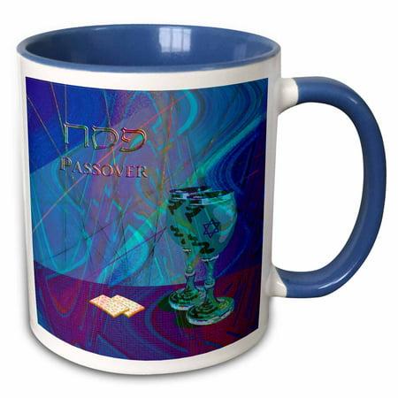 3dRose Passover, Cups and Matzah Cracker - Two Tone Blue Mug, 11-ounce