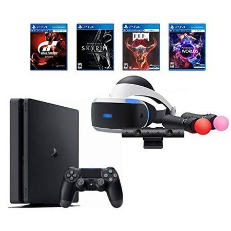 Refurbished PlayStation 4 Slim Bundle VR Starter Bundle PS4 Slim 1 1TB Console Jet Black And 4 VR Game Discs: Doom Vfr Skyrim VR VR Worlds And Gran Turismo Sports