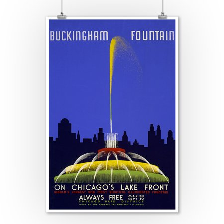 Chicago World's Fair Poster - Buckingham Fountain - Vintage Advertisement (9x12 Art Print, Wall Decor Travel Poster)