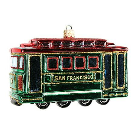 San Francisco Cable Car Polish Glass Christmas Ornament Made Poland - Car Christmas Decorations