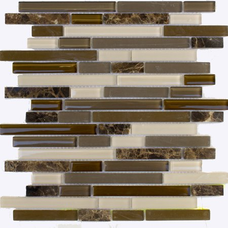 - Glass/Stone Mosaic Wall Tile 12in.x12in.x6mm - #02049 - 6 tiles/6 sq.ft