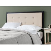 Zinus Barbara Button Tufted Taupe Upholstered Metal Headboard, King, Beige