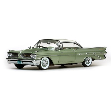 1959 Pontiac Bonneville Hard Top Cameo Ivory/Dundee Green Platinum Edition 1/18 Diecast Model Car by - Cameo Platinum Rim