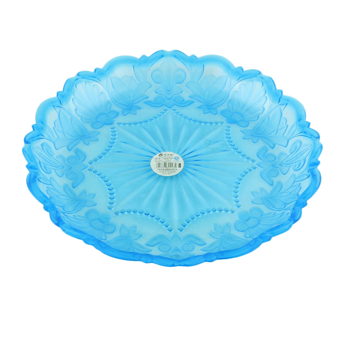 Household Plastic Flower Pattern Wave Edge Fruit Dessert Dish Plate Clear Blue by