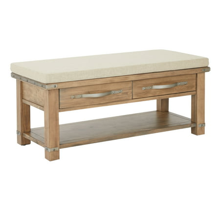Matera Bench with 2 Drawers in linen fabric top with natural soap finish K/D
