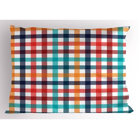 Checkered Pillow Sham Colorful Fresh Summertime Pattern Design Gingham Plaid Striped Traditional Picnic, Decorative Standard King Size Printed Pillowcase, 36 X 20 Inches, Multicolor, by Ambesonne (Plaid Standard Sham)