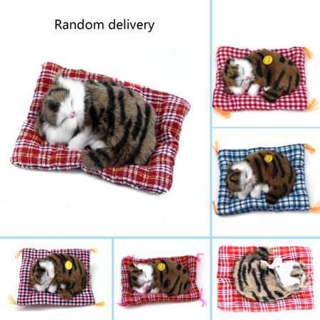 Simulation Animal Cat Doll New Lovely Simulation Animal Doll Plush Sleeping Cats With Sound Kids Toy
