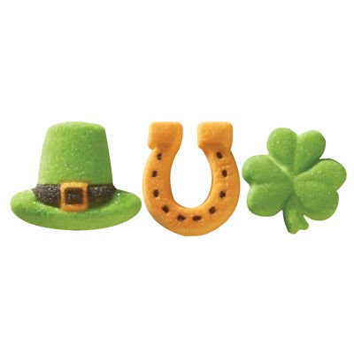 Green Leprechaun Hats, Gold Horseshoes, & Green Clovers Edible Sugar Decorations- 12 Count