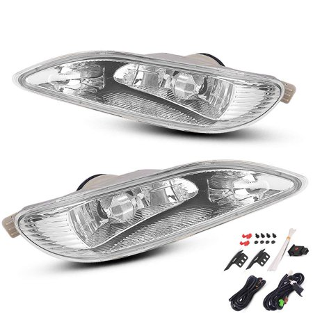 for 2005-2008 Toyota Corolla Bumper Lamp Clear Fog Light Pair+Switch Wiring Kit 2006 2007 ()