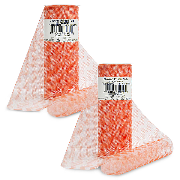 """Expo Int'l Pack of 2 6"""" Chevron Zig Zag Printed Tulle Spool of 10 yards"""