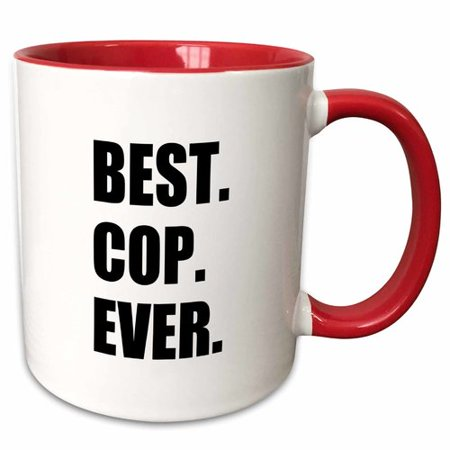 Symple Stuff Beveridge Best Cop Ever Fun Text Gifts for Worlds Greatest Police Officer Coffee Mug - Gift Ideas For Police Officers