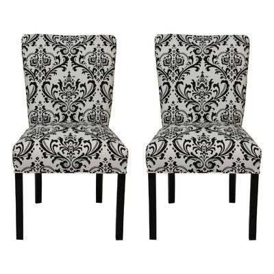 SOLE Designs Julia Collection Dining Chairs, A Set of 2 Upholstered Modern Dining Room Chairs, Side Chair, Traditions Grey Patte