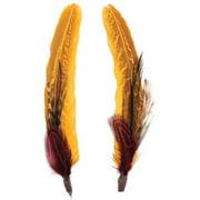 Pheasant Hackle Guinea Hat Trim 2pc-black, Fig And Marigold