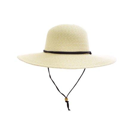 - Women's Sun Protecting Large Brim Straw Hat w/ Chin Strap, Ivory