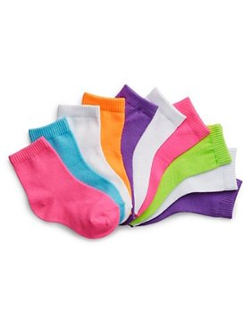 Hanes Baby Girls and Toddler Girls Ankle Socks, 10-Pack