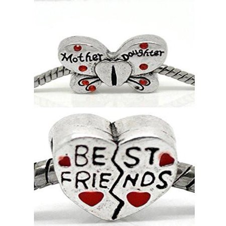 Best Friends Mother Daughter Charms Beads for Snake Chain Charm