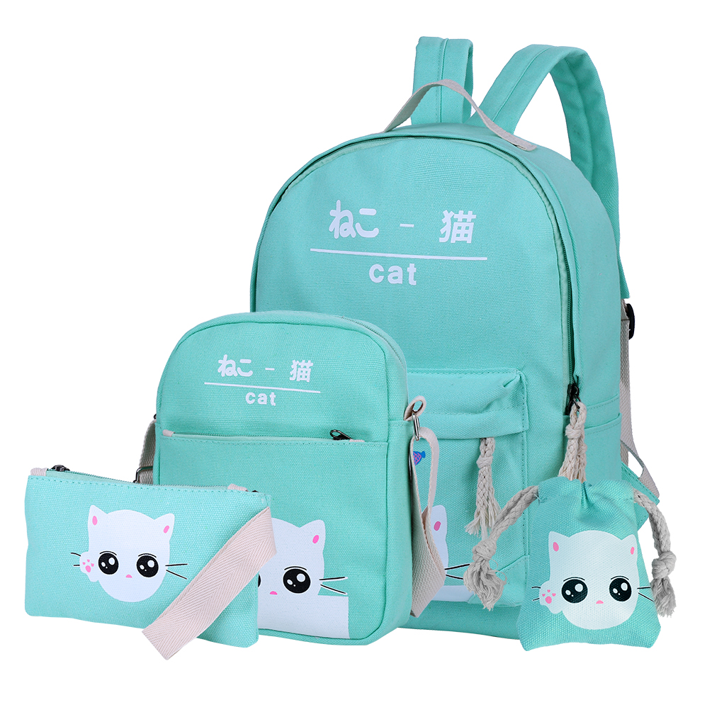 Vbiger Cute Cat Canvas Backpack Set 4-in-1 Shoulder Bags Casual Student Daypack for Teenage Girls by Vbiger